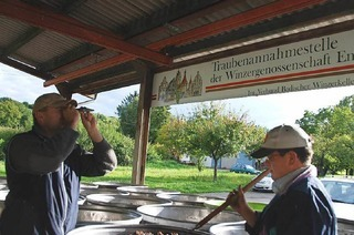 Traubenannahmestelle im Schambachtal
