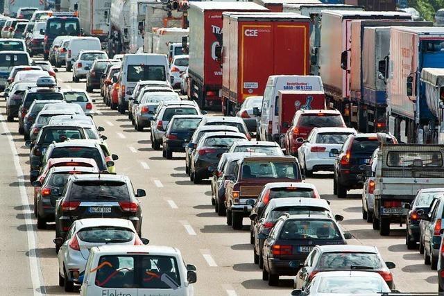 Unfall auf der A5 im Baustellenbereich bei Bühl
