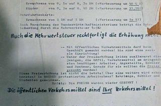 Mit diesem Flugblatt wurde 1968 zur Demo gegen die Fahrpreiserhöhung aufgerufen