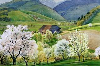 Große Ausstellung mit Schwarzwaldimpressionen des Malers Manfred A. Schmid eröffnet im Skimuseum Hinterzarten