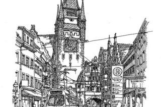 Italienischer Gastkünstler stellt Zeichnungen mit Freiburg-Motiven in der innenstadt aus