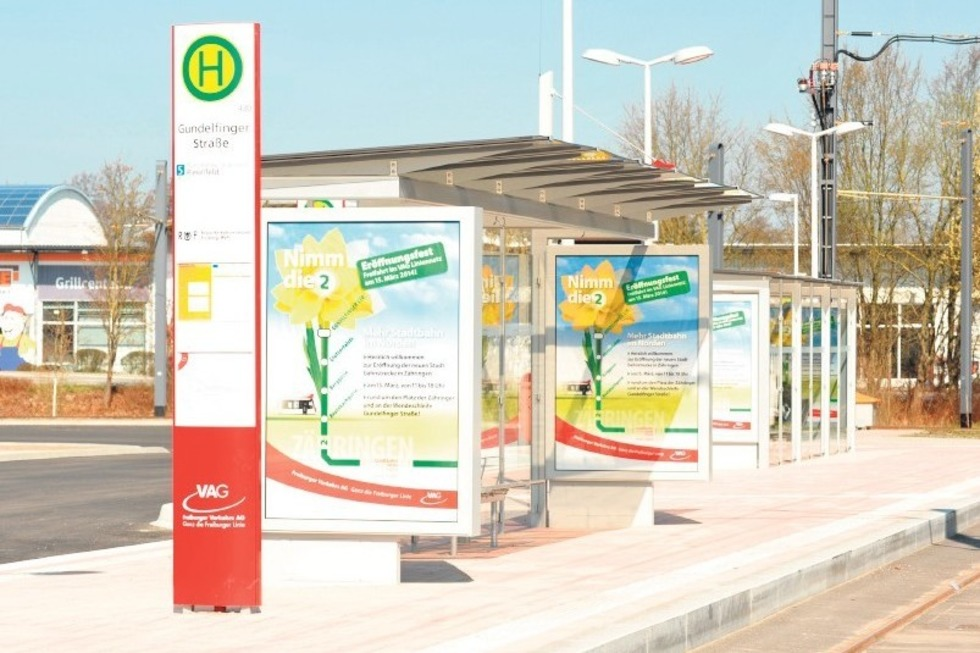 Straßenbahn-Endhaltestelle Gundelfingen - Freiburg
