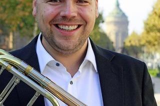 Sebastian Harras (Bassposaune) und Traugott Fünfgeld ( Orgel) konzertieren in der Stadtkirche