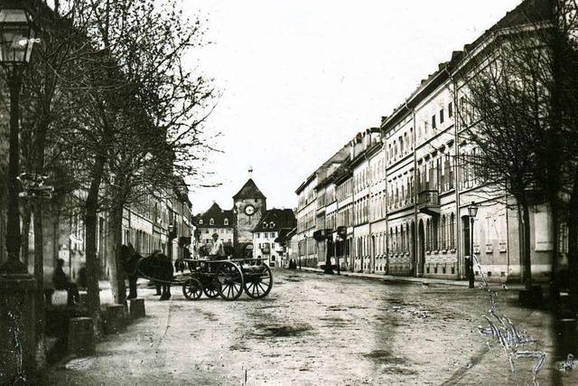 Der Blick auf das Martinstor in Freiburg war vor 160 Jahren ein anderer