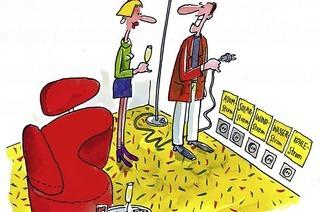 Dar Karikaturist Erich Rauschenbach spricht im Hotel Liberty über das Komische