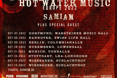 BOYSETSFIRE & HOT WATER MUSIC - Plus Special Guest: SAMIAM - Wiesbaden - 15.10.2022 17:30